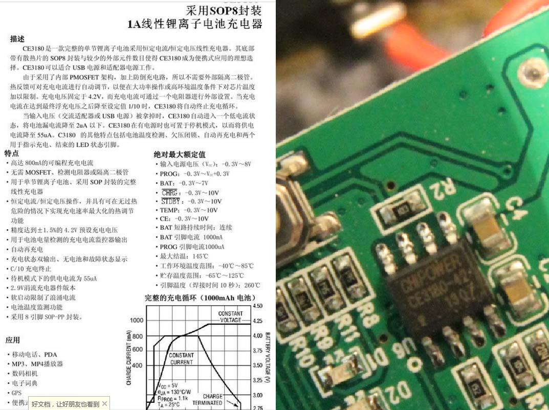 Tampak IC Charging yang digunakan, dengan datasheetnya. Dari google translate, tampak powerbank ini menggunakan charger Li-Ion 1A dengan perlindungan temperatur