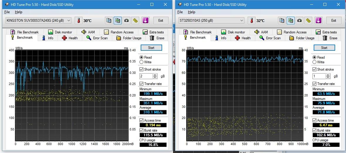 Kiri: SSD, kanan: HDD. Perhatikan perbedaan kecepatan nya